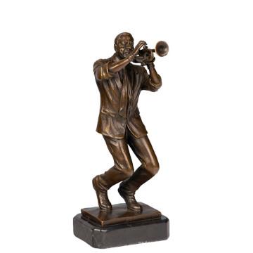 Musique Décor En Laiton Statue Trompette Joueur Bronze Sculpture Tpy-751