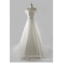 2017 overwhelming Exquisite top grade strapless Capped sleeve long trailing wedding dress TS148