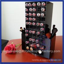 Suporte de batom acrílico giratório preto de alta qualidade