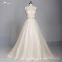 LZ174 Alibaba Scoop A línea diseños de Frocks Champagne Crystal Bead Vestido De Noiva