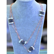 Fashion Gz Hemitite Crystal Pearl Necklace Chain Jewelry