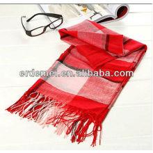Écharpe en laine de feutrine à carreaux teintée de fil