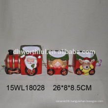 Creative ceramic christmas train with santa/girl/reindeer