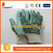 Women′s Garden Gloves. Green Dots on Palm. Flower Design (DGB206)