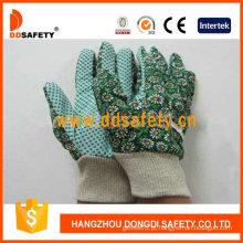 Luvas de jardim da mulher. Pontos verdes na palma da mão. Design de flores (DGB206)