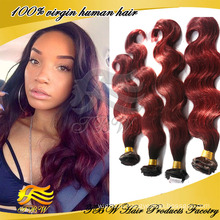 100% человеческих волос weave 1Б #99j Виргинский Бразильский ombre объемная волна утка волос