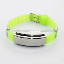 Großhandelsart und weisesilikon-Armband-Edelstahl Identifikation-Metallplatten-Armband-Zusatz-Schmucksachen