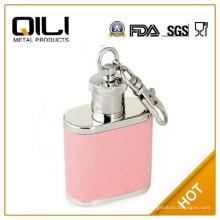 высокое качество нержавеющей стали мини-блеск фляга с кольцом для ключей