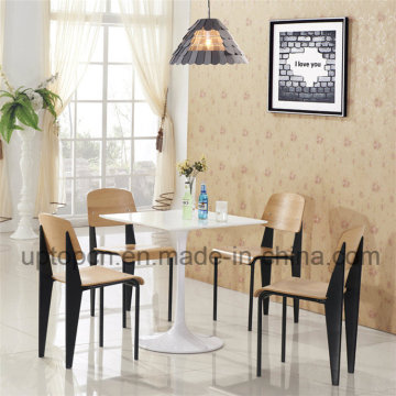 Restaurant Furniture White Table and Wooden Chair with Metal Leg (SP-CT667)