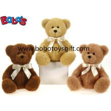 Brinquedo de urso de pelúcia em 3 cores com fita de ouro como presente agradável para crianças do bebê