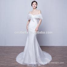 Sweetheart encaje vestido de noche largo blanco sirena vestido de noche 2016