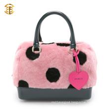 Black Spots Real Fur Material Cute Lady Hand Bag Rex Rabbit Fur Bags Handbags For Women