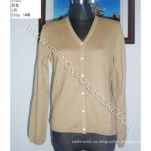 Cárdigan con cuello en V 100% cachemir para mujer (HM-SW09012)
