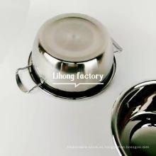 Espejo chino acabado olla de sopa de utensilios de cocina de acero inoxidable con doble asa