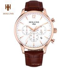 Luxus Herren Saphir Material Echt Leder Strap Wasserdicht Datum Chronograph Quarz Armbanduhr Relogio Maskulinine
