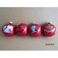 Boule de verre à peinture rouge avec étiquette d'animal Image pour Noël