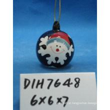 Bauble de boneco de neve cerâmico pintado à mão para decoração de natal