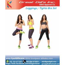 Beste Qualität Frauen Athletic Workout Yoga Legging und Sport-BH-Set