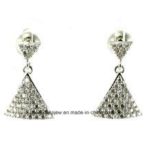 Diseño especial 925 pendientes de plata esterlina Trangle forma Eardrop Earbob mujeres joyas de moda E6344