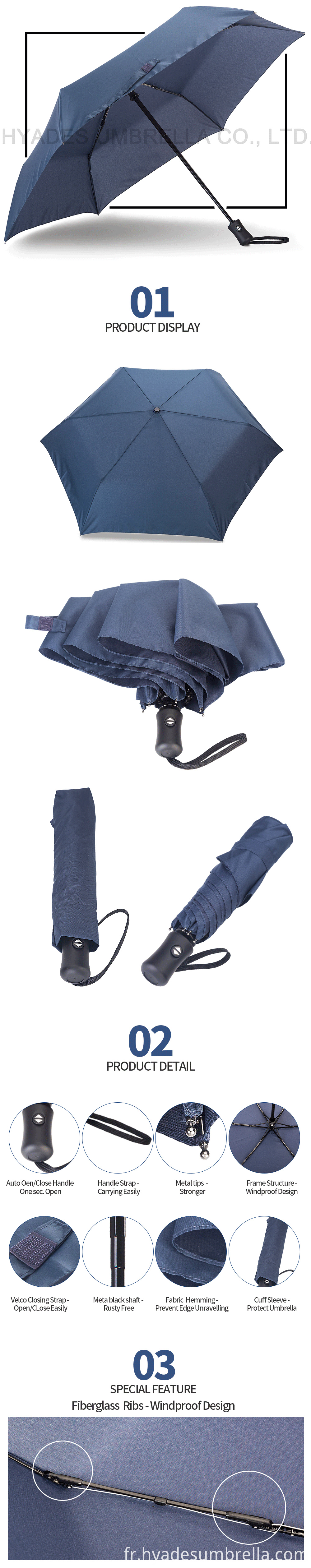 Navy auto open and close umbrella
