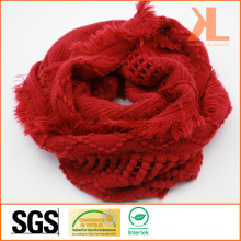 100% Acrylic Fashion Red Warp Knitted Neck Scarf