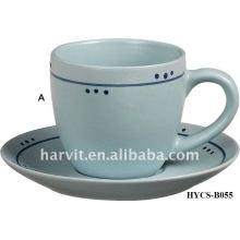Various Decals Round White Elegant Stoneware Tea Cup & Saucer