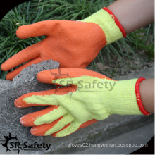 SRSAFETY cheap price/10g recycle polycotton latex coated/working gloves/safety gloves