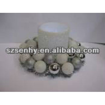Artificial Plastic ball Christmas candle wreath