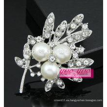 Broche cristalino nupcial del rhinestone de la perla de la manera
