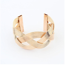 Wholesale gold plated braided iron cord crossed c shape cuff bracelet fashion metal bangle