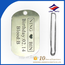 Decoration souvenir cheaper price metal name dog tag