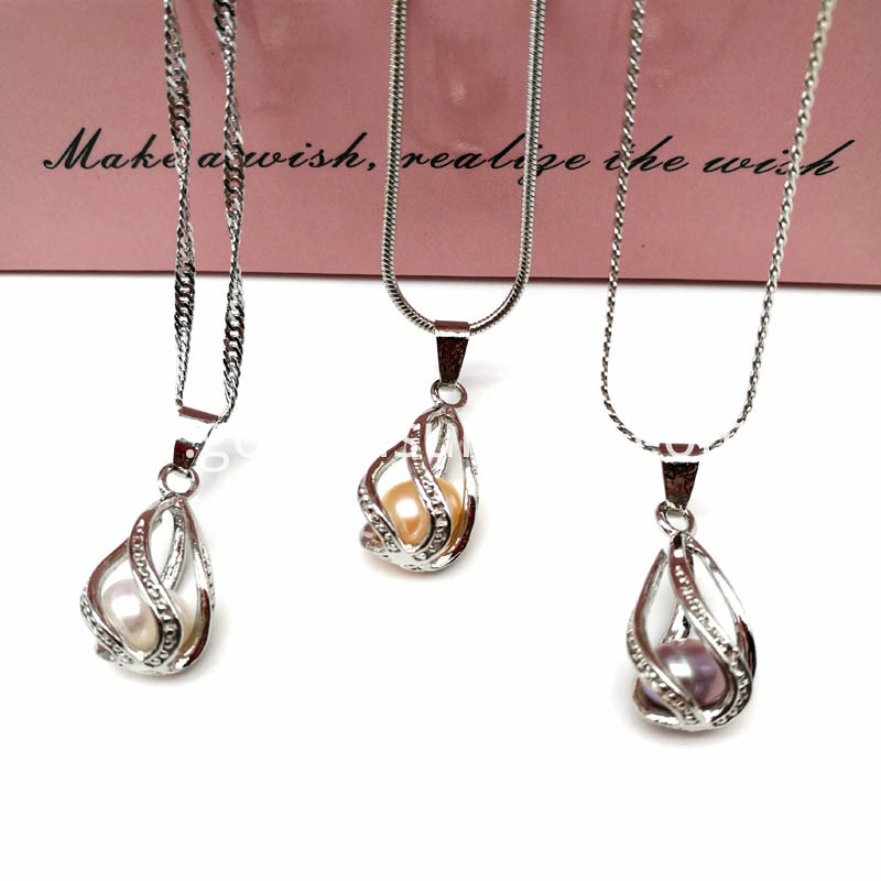 Water Drop Cage Pendant Necklace