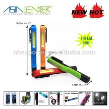 Novo Design COB Pen forma magnética clip trabalho luz