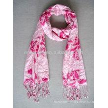 Impression viscose mode écharpe rose rouge