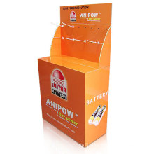 Corrugated Pallet Display Stand with Plastic Hooks for Battery