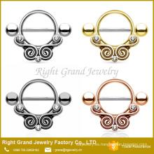 Barra de diseño oro plateado Strass acero inoxidable escudo anillos de pezón tribal
