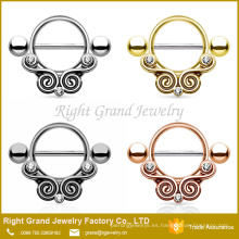 Tribal Design Chapado en oro Rhinestone Acero inoxidable Nipple Shield Ring Barbell