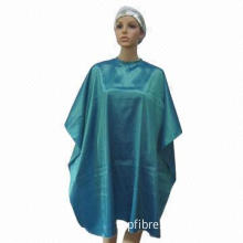 Hair styling cape, made of nylon/polyester blend iridescent fabric, waterproof and tint proof