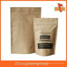 OEM resistente a la humedad impresión de huecograbado inferior gusset plástico de pie bolsa de papel marrón con cierre zip