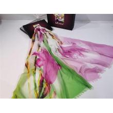2020 women New fashion Digital flower Printing long plain polyester scarf hijab shawl