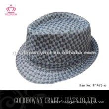 plaid black and white checked fedora hats