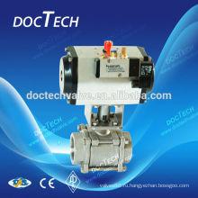 Пневматические 3PC шаровой клапан с конца потока