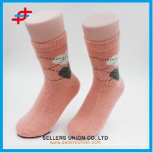 Angora Wolle neuen Stil Kaffee mit cremefarbenen Stricken Casual warme Socken für junge