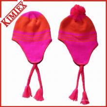 Зимняя акриловая трикотажная жаккардовая вязаная шапка
