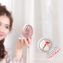 Mothers Day Gifts Shell Design Can Folding Mirror Fan With Led