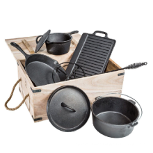 6 Pieces Cast Iron Cookware Set In Wooden Box
