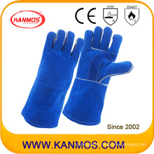Blue Cowhide Split Leather Industrial Safety Welding Work Gloves (11114)