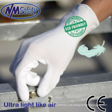 NMSAFETY calibre 13 guante de trabajo de agua suave DMF libre y guantes de PU ecológicos