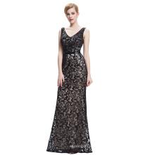 Starzz 2016 sin mangas con cuello en V vestido largo de lentejuelas satinado vestido de baile ST000034-1