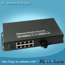 Быстрый телевизионный конвертер оптического волокна 1000 Мбит / с 1 волокна 8 портов сети Ethernet конвертер для IP-камер